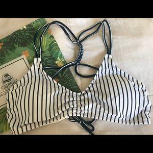 Cupshe Navy and White Bikini Top